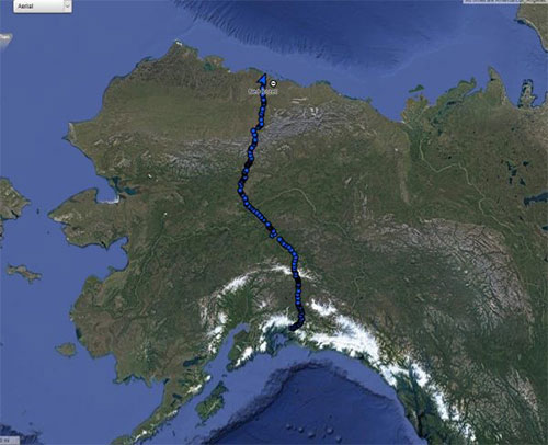 jpg Blue dots trace the pathway of Ned Rozell and his dog Cora during their 96-day summer walk across Alaska along the path of the trans-Alaska oil pipeline.