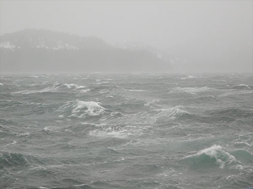 jpg Stormy weather and turbulent water such as this makes sampling and microscope work extra tricky on Sikuliaq.