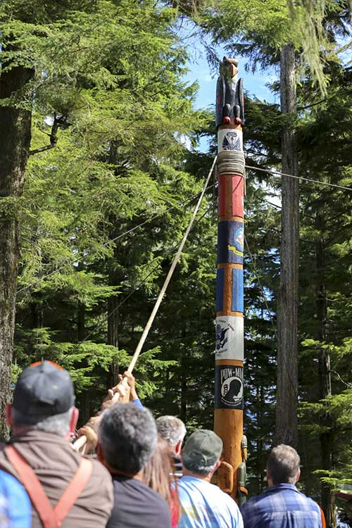 jpg The 37-foot Veterans Totem Pole was placed in Klawock's newly constructed Veterans Totem Park to honor all Alaska veterans.