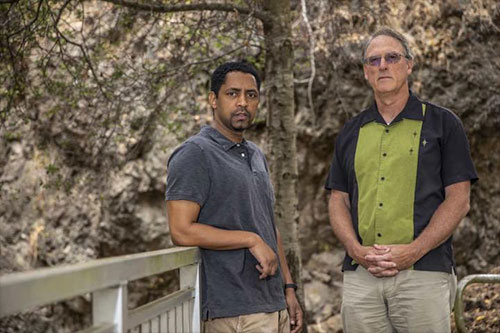 jpg Berkeley Lab scientists Zelalem Mekonnen (left) and William Riley co-authored a study on how wildfires will affect forests in Alaska.