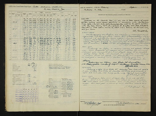 jpg This logbook page from the U.S. Coast Guard Cutter Northwind was written July 9, 1955, in the Chukchi Sea .