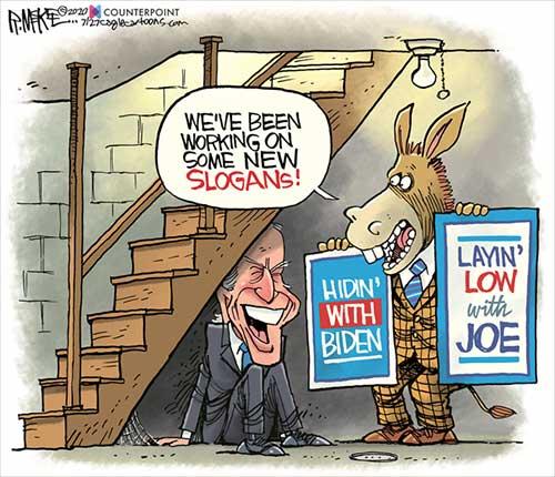 jpg Political Cartoon: Biden Basement Slogans