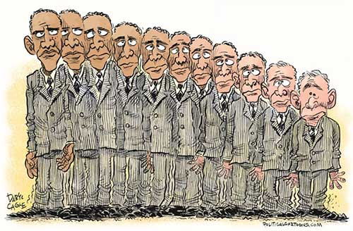 jpg Political Cartoon: Obama Transforms Into Bush