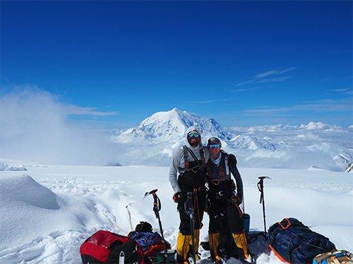jpg Capt. Stephen Austria, project engineer in the USACE-Alaska District's Foreign Military Sales Program, and fiancé and climbing partner, Rebecca Melesciuc, take a break from descending Denali, the tallest peak in North America