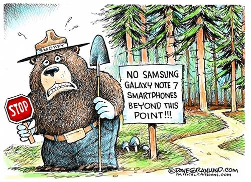 jpg Editorial Cartoon: Samsung Galaxy Note 7 fires