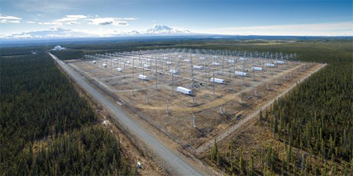 jpg HAARP includes a 40-acre grid of antenna towers, comprising the most powerful ionospheric heater in the world.