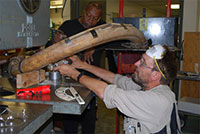 Slicing a 20,000-year-old mammoth tusk