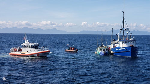 Coast Guard crews assist in dewatering, towing fishing vessel near Ketchikan