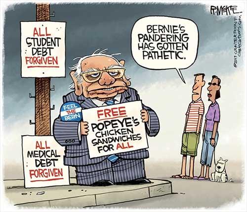 jpg Political Cartoon: Bernie Panders