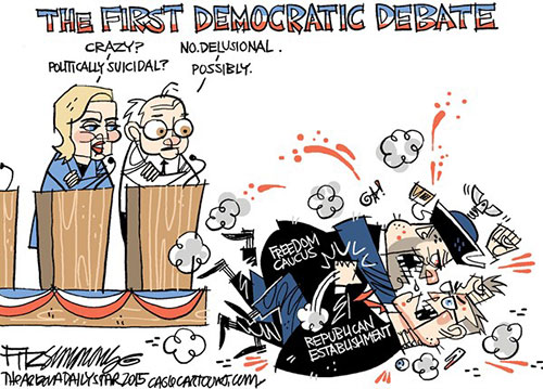 jpg Political Cartoon: First Democratic Debate