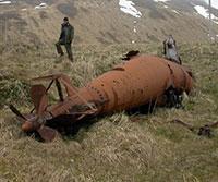 Japan's torpedo-like submarine rusts into an Alaska island