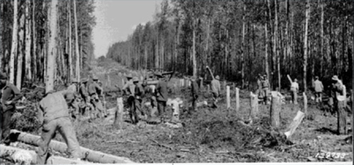 jpg For the first few months of construction, the engineers had only manpower to blaze the trail for the Alaska Highway.
