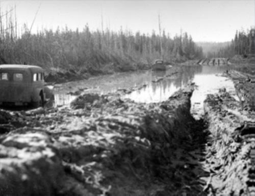 jpg Spring breakup on the Alaska Highway, ca. 1946-1960