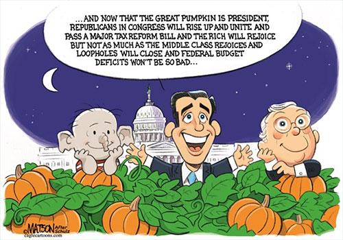 jpg Political Cartoon: The Great Pumpkin President