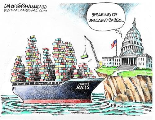 jpg Political Cartoon: Congress and unloaded cargo