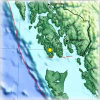 3.87 Quake centered 54 miles west southwest of Ketchikan