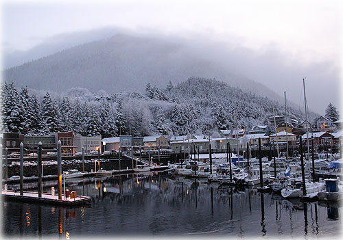 Early Morning Winter Harbor Front Page Photo By CINDY BALZER