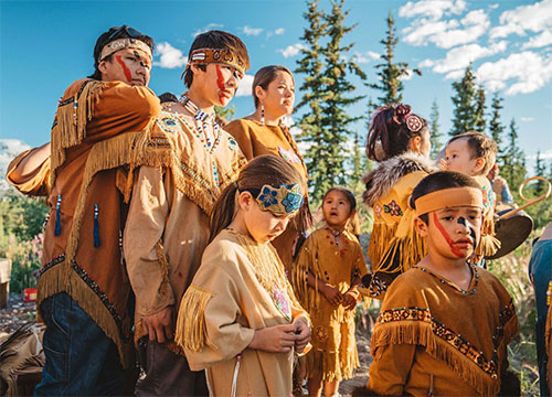 jpg Young members of the Gwich'in Nation prepare for a traditional dance ceremony at the 14th Gwich'in Gathering in Arctic Village, Alaska.