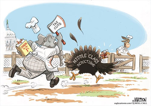 jpg Political Cartoon: Tax Cut Turkey Trot