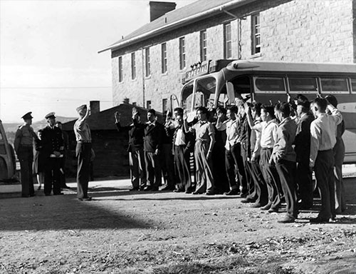 jpg The first 29 Navajo Code Talkers arriving at a training camp.