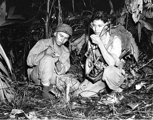 jpg Two Code Talkers fighting with the U.S. Marine Corps at the Battle of Bougainville in December of 1943.