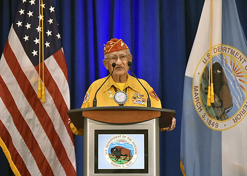 jpg Navajo Code Talker Thomas Begay speaks at an event at the Main Interior Building in 2016.
