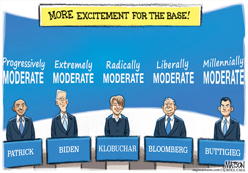jpg Political Cartoon: Moderate Democrats Take Center Stage at Debate
