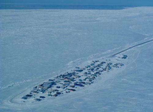 jpg Sea ice abuts the coast in April near the village of Kivalina in northern Alaska.