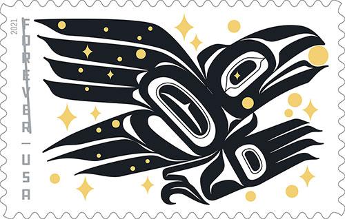 "jpg ""Raven Story"" forever stamp designed by Rico Lanáat' Worl"