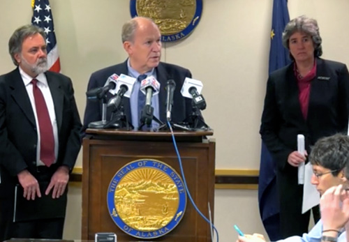 jpg Governor Bill Walker, Department of Revenue Commissioner Randall Hoffbeck, and Office of Management & Budget Director Pat Pitney provide an overview of the FY17 budget