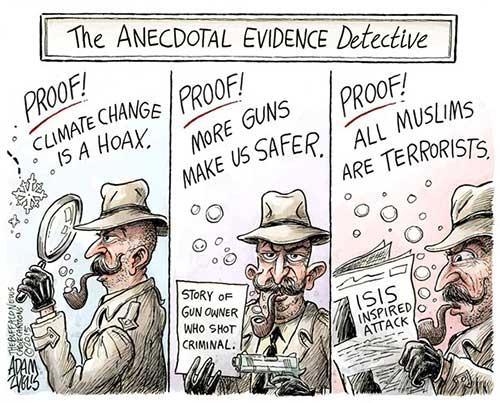 jpg Editorial Cartoon: Anecdotal Evidence Detective