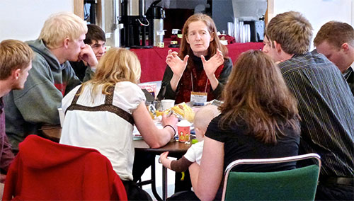 jpg Torie Baker leads new commercial fishermen in a discussion at the 2013 Alaska Young Fishermen's Summit in Juneau.