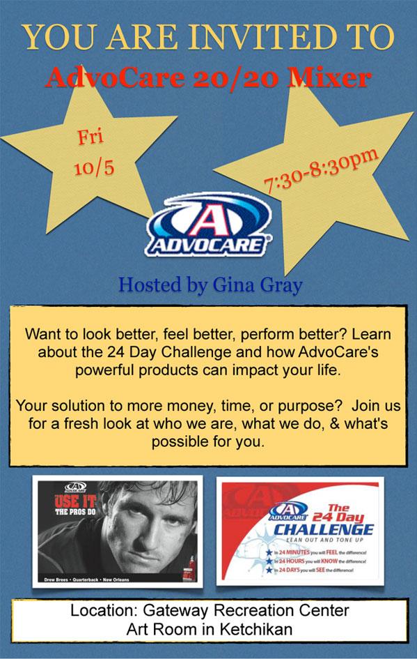 AdvoCare 20/20 Mixer - Ketchikan, Alaska - Click here