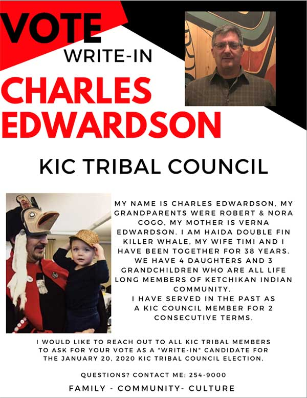VOTE January 20, 2020 - Write-In Charles Edwardson for KIC Tribal Council