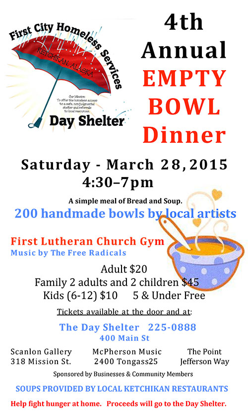 jpg First City Homeless Services, 4th Annual Empty Bowl Dinner - March 28, 2015