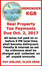 Reminder: KGB Property Taxes Due October 2, 2017