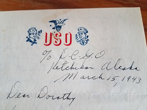 jpg Photograph of old letter received by family.