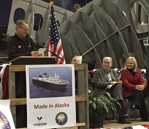 jpg At the podium is Doug Ward, Vigor Alaska's Director of Shipyard Development; seated are Alaska Governor Bill Walker and First Lady Donna Walker.