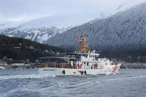 jpg The Coast Guard Cutter John McCormick (WPC-1121) and crew make way to their home port at Coast Guard Base Ketchikan, March 17, 2017.