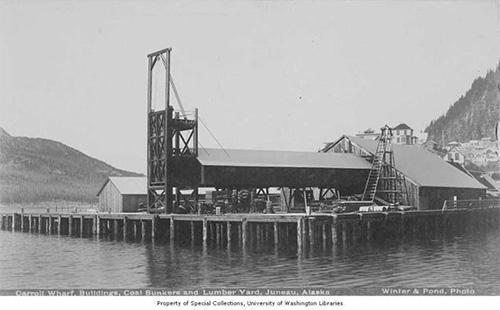 jpg Carroll Wharf showing coal bunkers and lumber yard, Juneau, Alaska, between 1895 and 1905.