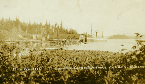 jpg Ship loading Canned Salmon at Kasaan Cannery