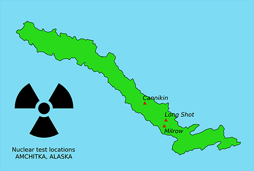 jpg Locations of nuclear test sites on Amchitka Island