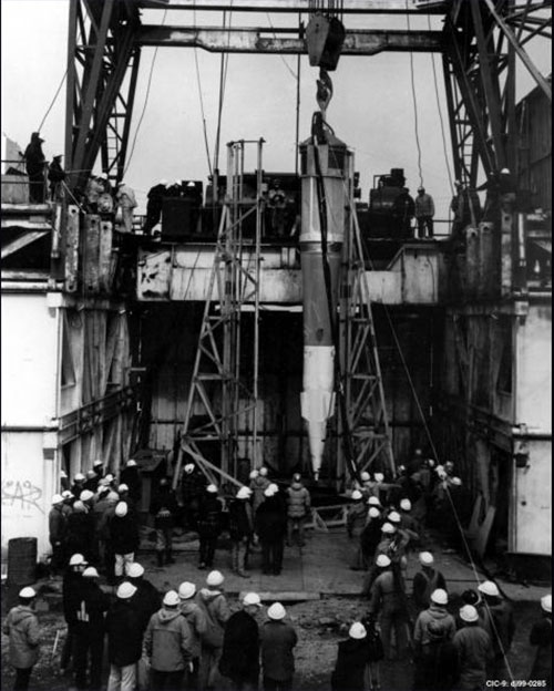 jpg In October, 1971, workers for Atomic Energy Commission lowered the Spartan Missile nuclear warhead into a mile-deep hole on Amchitka Island.