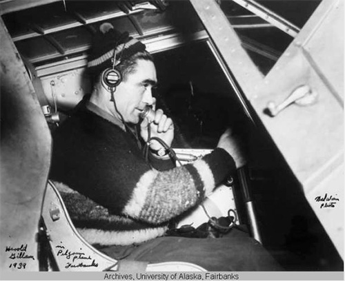 jpg Charles Harold Gillam in the Pilgrim plane in Fairbanks, 1939.