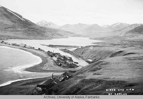 jpg Elevated view of Karluk, Alaska. 1896-1913