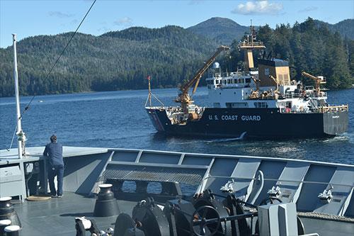 jpg Squeezing past buoy tender in Peril Strait