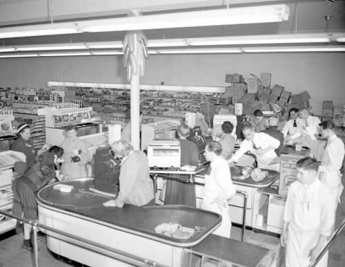 jpg Check out counter at the Wingren Supermarket, February 25, 1954