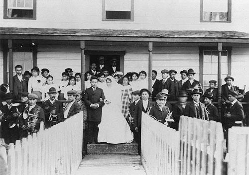 jpg Tlingit woman named Lucy Kininook and Tsimshian man named Rev. Edward Marsden pose for their marriage ceremony, Alaska, ca. 1903