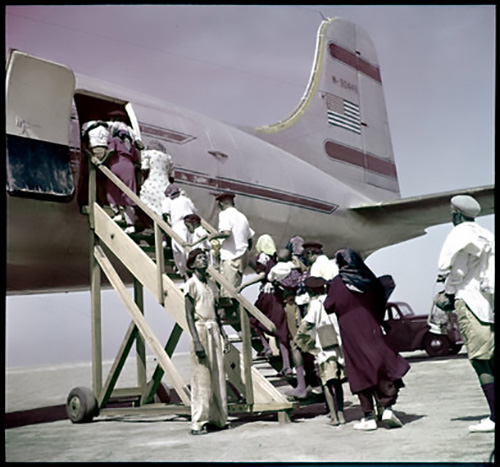 jpg Yemenite Jews board a JDC-chartered Alaska Airlines flight to Israel as part of Operation Magic Carpet.