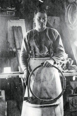 jpg Ott Inman at work in his cooperage, 1904.